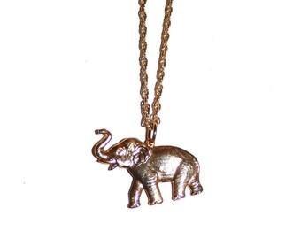 Vintage Gold Elephant Necklace - White Elephant Gift Elephant Jewelry