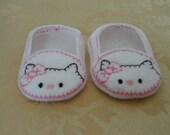 "18"" Doll Shoes -  White Kitty Cat Shoes with Pink Bow"