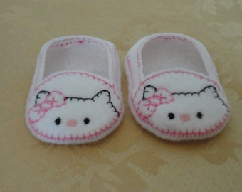 """18"""" Doll Shoes -  White Kitty Cat Shoes with Pink Bow"""