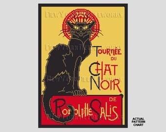 Chat Noir Cross Stitch, French Cat Cross Stitch, Cross Stitch, Cross Stitch Cat, Cat Silhouette, Cat Pattern by NewYorkNeedleworks on Etsy