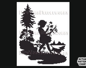 Girl Silhouette, Girl With Dog Cross Stitch, Cross Stitch, Silhouettes, Little Girl Cross Stitch, Children from NewYorkNeedleworks on Etsy