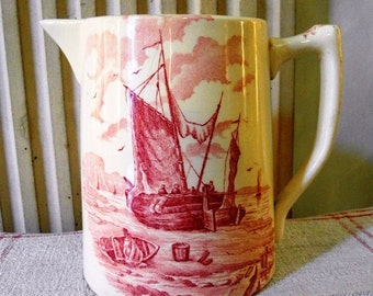 French earthenware WATER JUG with BOATS in Pink