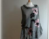 Ashen Grey Jeans LINEN Shawl With Unique Felt Fower Appliques Eco Friendly Scarf Fashion  Wrap Scarves Clothing