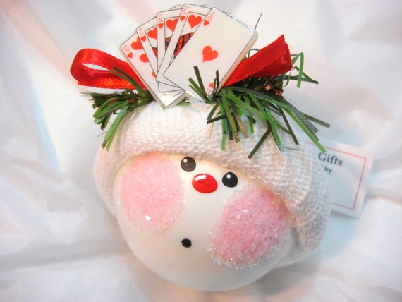 Adorable Poker Snowman Ornament