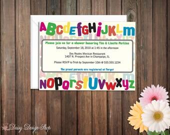 Baby Shower Invitation - Colorful Fridge Magnet Alphabet