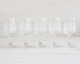 Vintage frosted shot glasses -  Gold white Glass Collectible Decor Barware Drinking Serving