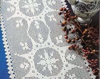 White filet crochet dual spectacular sunbursts table runner - READY TO SHIP