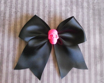Pastel Goth black Hair bow with hot pink skull punk lolita