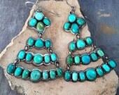 Genuine Turquoise Sterling Silver Chandelier Earrings