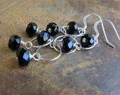 cool . earrings . black onyx . sterling silver . circles . versatile . natural stones . signature . you . dark . leverback option . charity