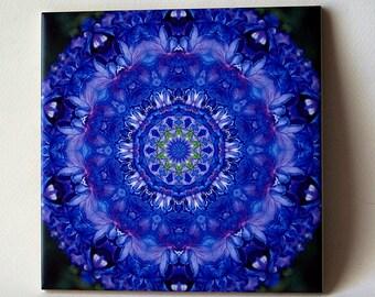 Delphinium mandala ceramic tile, sky blue floral trivet, cottage garden perennial, all occasion gift for gardener, decorated wall tile T780
