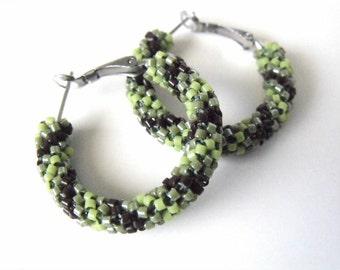 Brown and green hoop earrings, beaded green jewelry, green earrings, woven beaded hoops, seed bead jewelry
