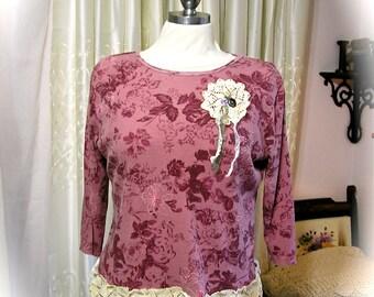 SALE Boho Doily Top, refashioned upcycled cotton plum shirt, shabby cottage boho shirt, Large