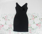 60's Little Black Fringe Trim Cocktail Dress / 1960's Audrey Hepburn Shimmy Party Dress / Wiggle / Petite / Sleeveless / LBD / Small S