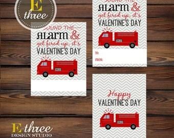 Printable Boy's Valentines - Firetruck Valentine's - Kid's School Valentines - Valentine Treat Tags