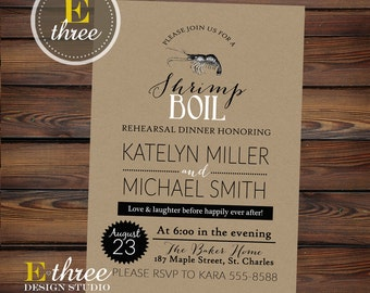 Shrimp Boil Rehearsal Dinner Invitation - Seafood Boil Invitations - Low Country Boil #1043