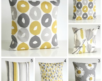 10x10 Pillow Cover, Scandinavian Pillow Cover, Yellow and Gray, Cotton Pillowcase, Yellow and Grey Cushion Cover - Scandi Mustard Collection