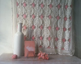 Vintage Crocheted Tablecloth/Runner in cream and pink