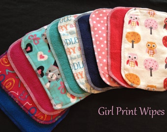 Cloth Baby Wipes, Family Cloth, Reusable Wipes, Assorted Girl Prints, Pack of 25 Cloth Wipes