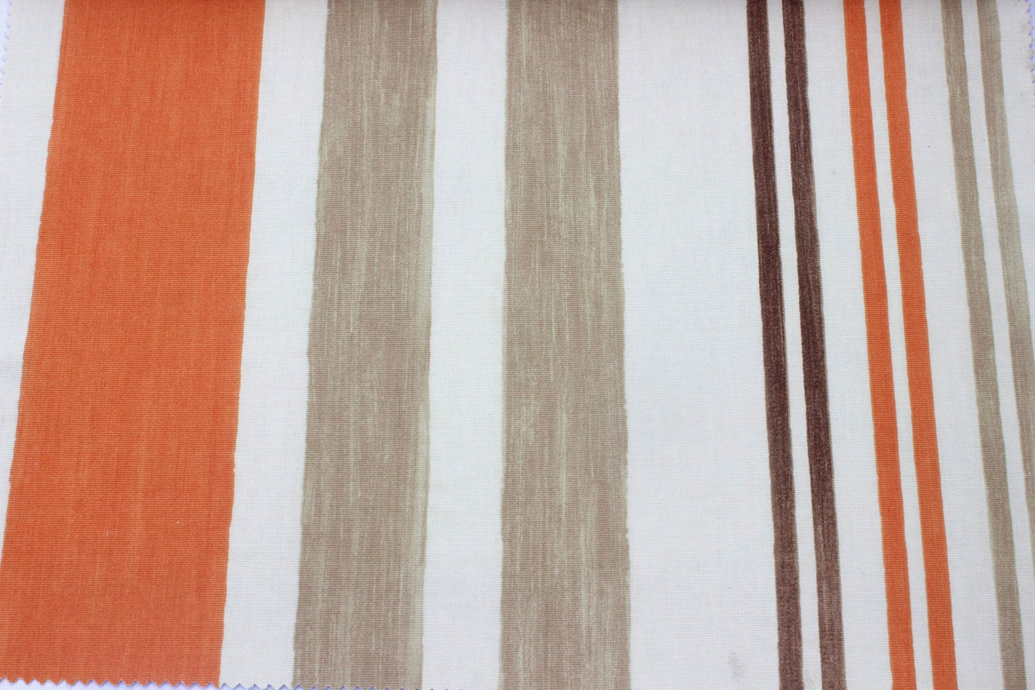 Tangerine Orange Stripe Fabric By The Yard Curtain Fabric