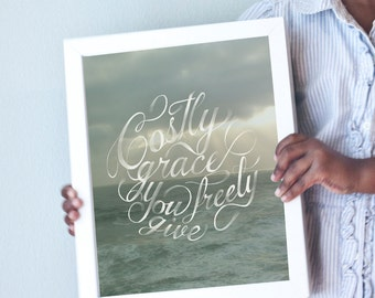 Costly Grace art print with seascape/ocean/beach background