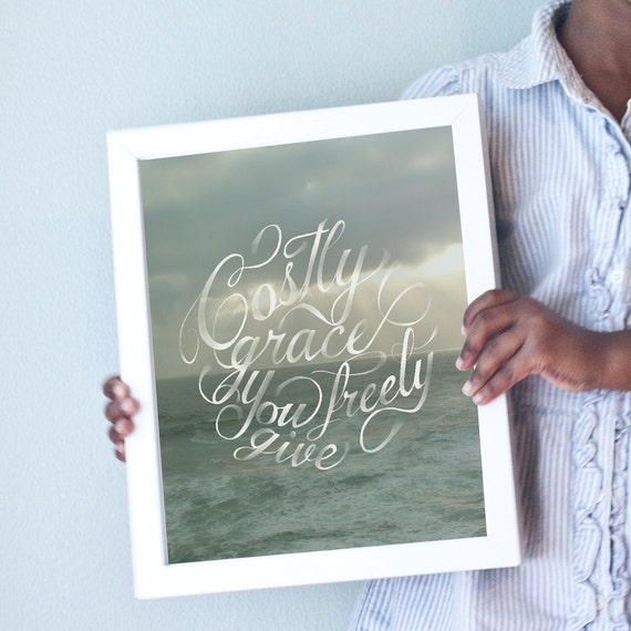 Printable 11x14 Costly Grace art print with seascape/ocean/beach background