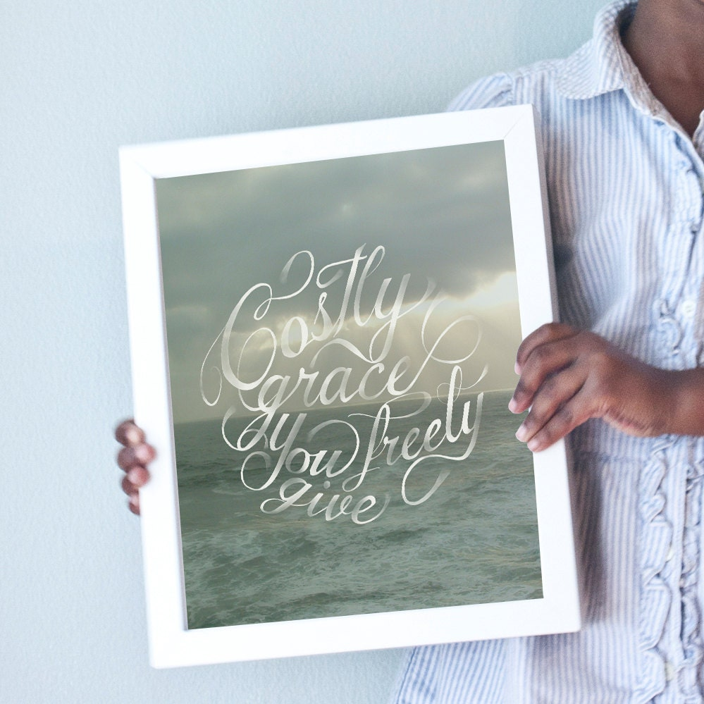 Printable 8x10 Costly Grace art print with seascape/ocean/beach background