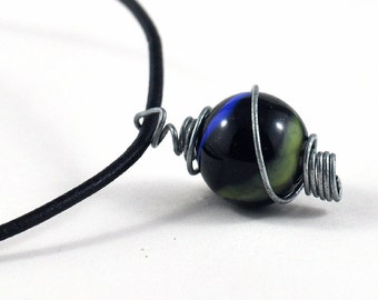Marble Choker Upcycled Black Blue Yellow and Grey in Handmade Staniless Steel Wire Wrapped Cage in Handmade Gift Pouch