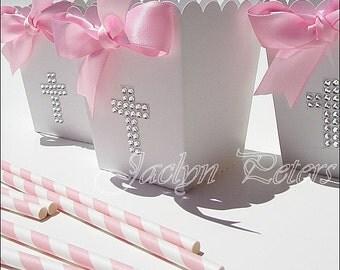 Girls Baptism Favor Boxes, First Communion, Popcorn Box, Christening, Silver Rhinestone Cross, Pink Bow, Dessert Table Decoration, Set Of 12