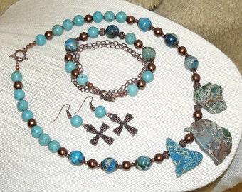 Imperial Jasper with Copper 3 piece set - Necklace Bracelet Earrings stone pearl bead jewelry