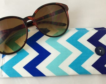 Fabric Eyeglass Case - Blue Sunglass Case - Reading Glasses Case -Chevron Eyeglass Case - Blue Glasses Case - Blue Chevrons