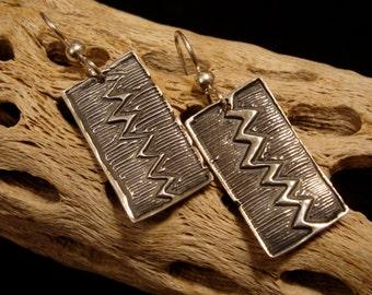 Light Up Your Life Earrings - Fine Silver  Rectangle Earrings - PMC - OOAK Earrings