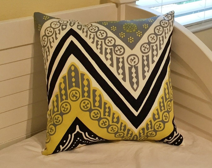 Trina Turk for Schumacher Tangier Frame in Driftwood (on Both Sides) Designer Pillow Cover - Square, Lumbar and Euro Pillow