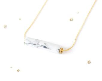 Marbled Cylinder Bar Necklace