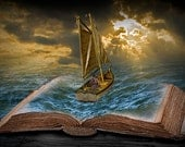Let the Adventure Begin a Journey from the Book's Printed Page onto a Ship Voyage in Uncharted Seas No.0179 Surreal Fantasy Photography