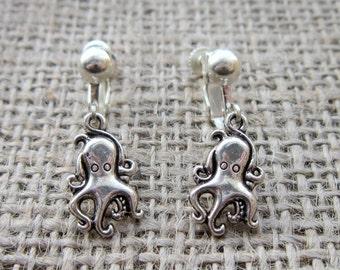 Octopus silver clip on earrings - unpierced ears cute cartoon octopuses octopi cephalopods