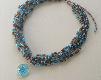 Braided Blue and Brown Braided Seed Bead Necklace with Glass Flower Pendant