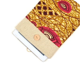 50% OFF SALE White Linen iPad Case with African Kente style print pocket. Padded Cover for iPad 1 2 3 4. iPad Sleeve Bag.