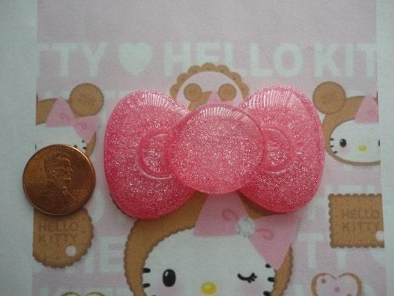 Kawaii BIG glitter pink bow decoden cabochon--USA seller
