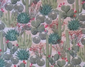 Allover Cactus Print in Green with Red Print Pure Cotton Fabric--One Yard
