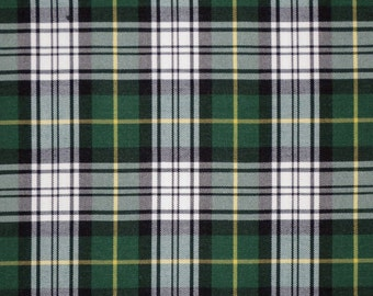 SPECIAL--Hunter Green Navy and White Woven Tartan Plaid Heavy Gabardine Fabric--One Yard