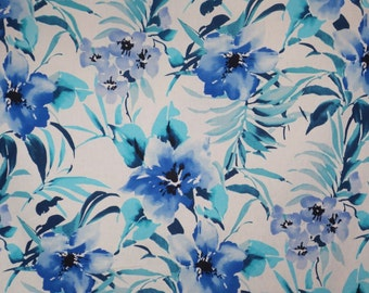 Royal Blue Turquoise and Periwinkle Tropical Floral Print Stretch Cotton Broadcloth--One Yard