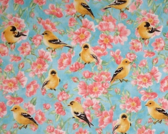 Sweet Goldfinch Birds and Blossoms Print Pure Cotton Fabric--One Yard