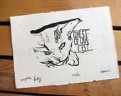Psycho Kitty - Original Art - Hand Pressed Linoleum Cut Art Print