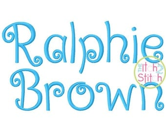 "Ralphie Brown Embroidery Font .75"", 1.25"", 1.75:"", & 2.25 Letters and numbers in four sizes,  INSTANT DOWNLOAD now available"