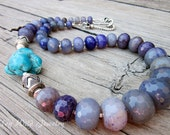 Chunky Turquoise Necklace, Purple Semi Precious Necklace, Women's Ranch Style Necklace, Purple Gemstone Necklace