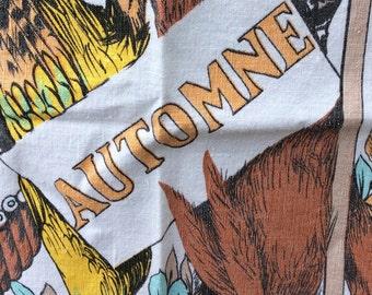 Vintage Autumn or Fall or Automne French Tea Towel - retro, mid century modern, 1950s kitchen towel from France