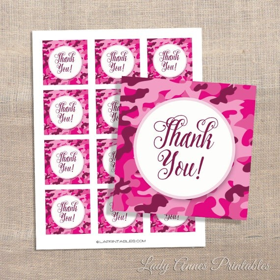 Pink Camo Printable Favor Tags Digital Thank You By