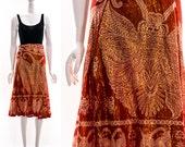 Vintage Rare 70s Sparkly Apricot Orange Moth Butterfly Wrap Skirt Sarong Bohemian REVIVAL Midi Skirt Tie Waist Festival Skirt Full Skirt S M