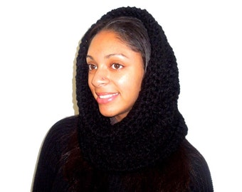 Neckwarmer, Cowl, Women, Men, Black, Hooded Scarf, Infinity Scarf, Eternity, Oversized